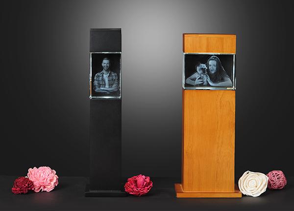 3D Glasblock in Stehle mit eigenem Foto