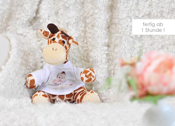 Kuscheltier Giraffe mit eigenem Foto