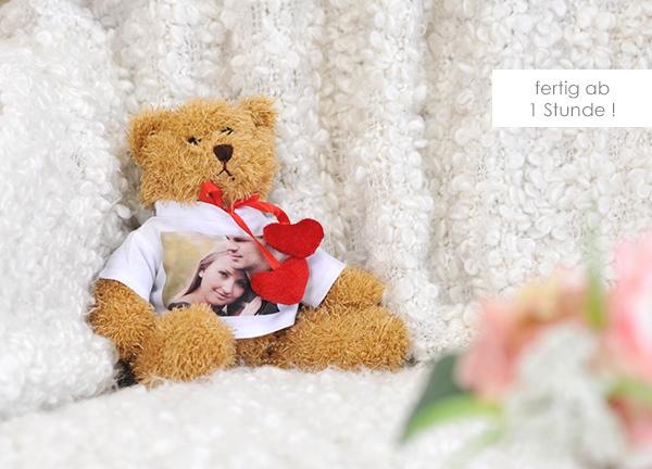 Kuscheltier Teddybär herz braun mit eigenem Foto