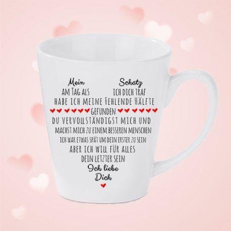 Liebeserklärung-konische Tasse für Sie