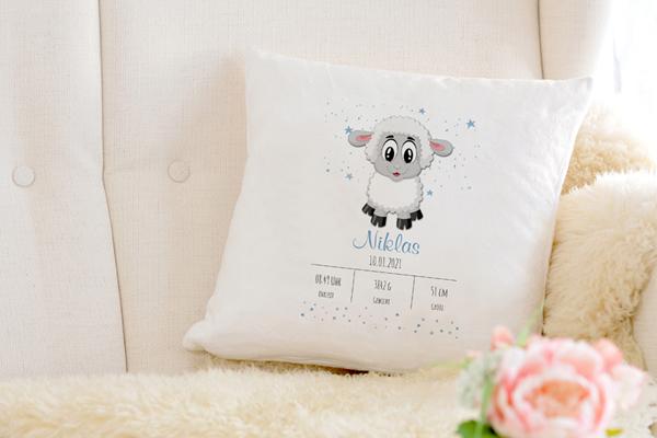 Personalisierte Baby Kissen Schaf blau