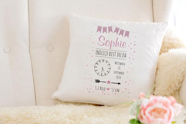 Personalisierte Baby Kissen endlich bist du da rosa