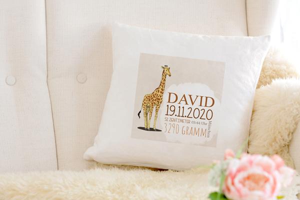 Personalisierte Baby Kissen giraffe