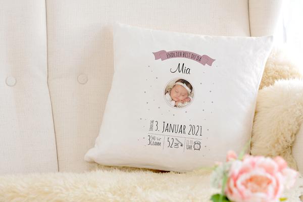 Personalisierte Baby Kissen mit Foto Rosa