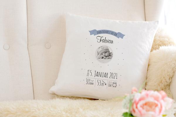 Personalisierte Baby Kissen mit Foto blau