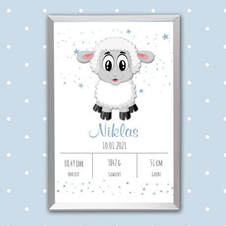 Poster Geburt Schaf blau
