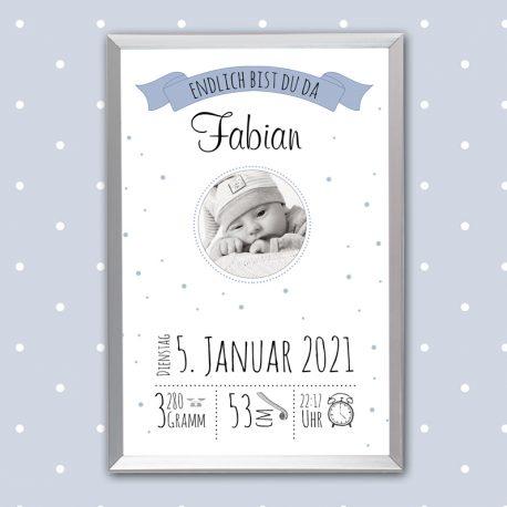 Poster Geburt mit Foto Blau