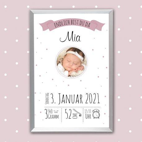 Poster Geburt mit Foto Rosa